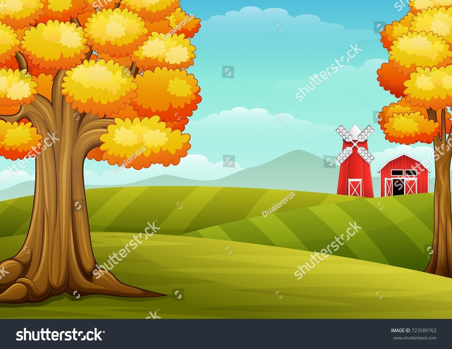 Vector Illustration Of Autumn Trees In Farm Landscape With Barn And Windmill