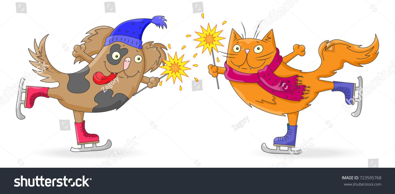 Illustration New Year Christmas Cartoon Funny Stock Vector ...