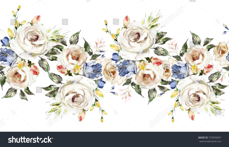 Isolated Seamless Border White Flowers Leaves Stock Illustration