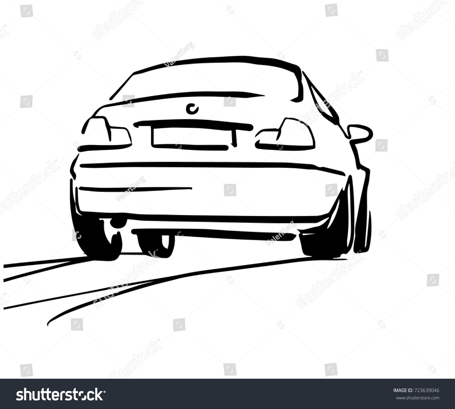 Car On Road Black White Vector Stock Photo (Photo, Vector ...