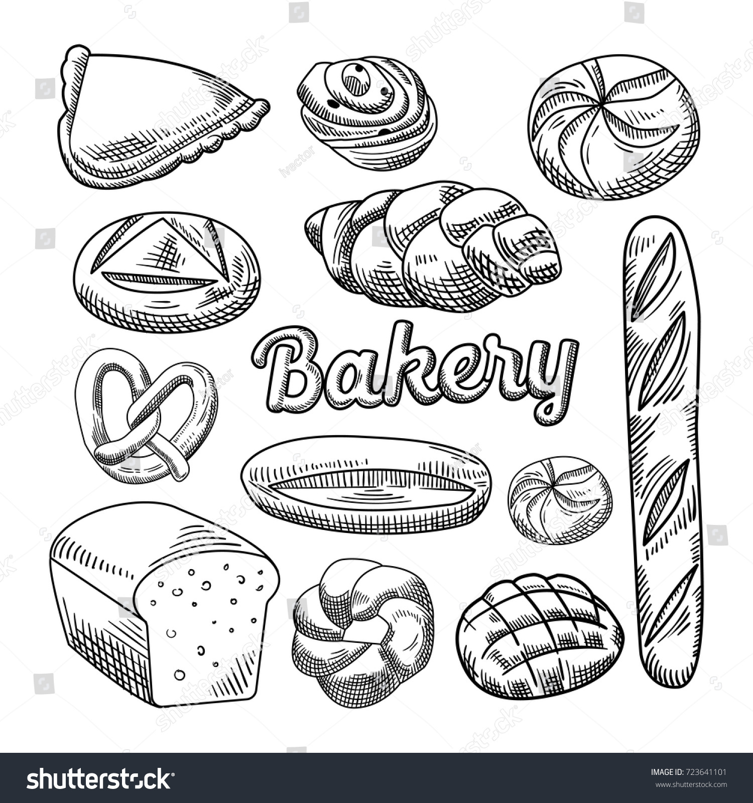 Bread Bakery Food Hand Drawn Doodle Stock Vector 723641101 ...