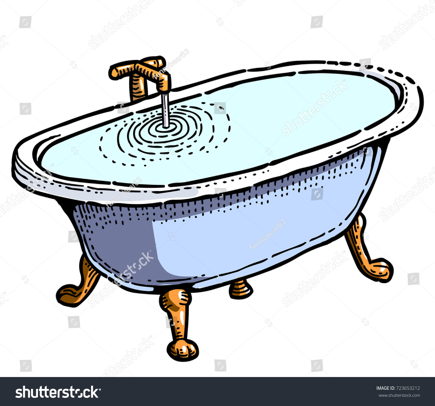Full Bathtub Cartoon Image Artistic Freehand Stock Vector HD ...
