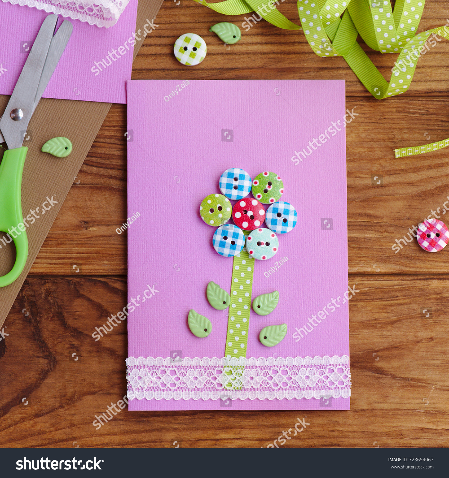 Homemade Greeting Card Kids Make Stationery Stock Photo Edit Now