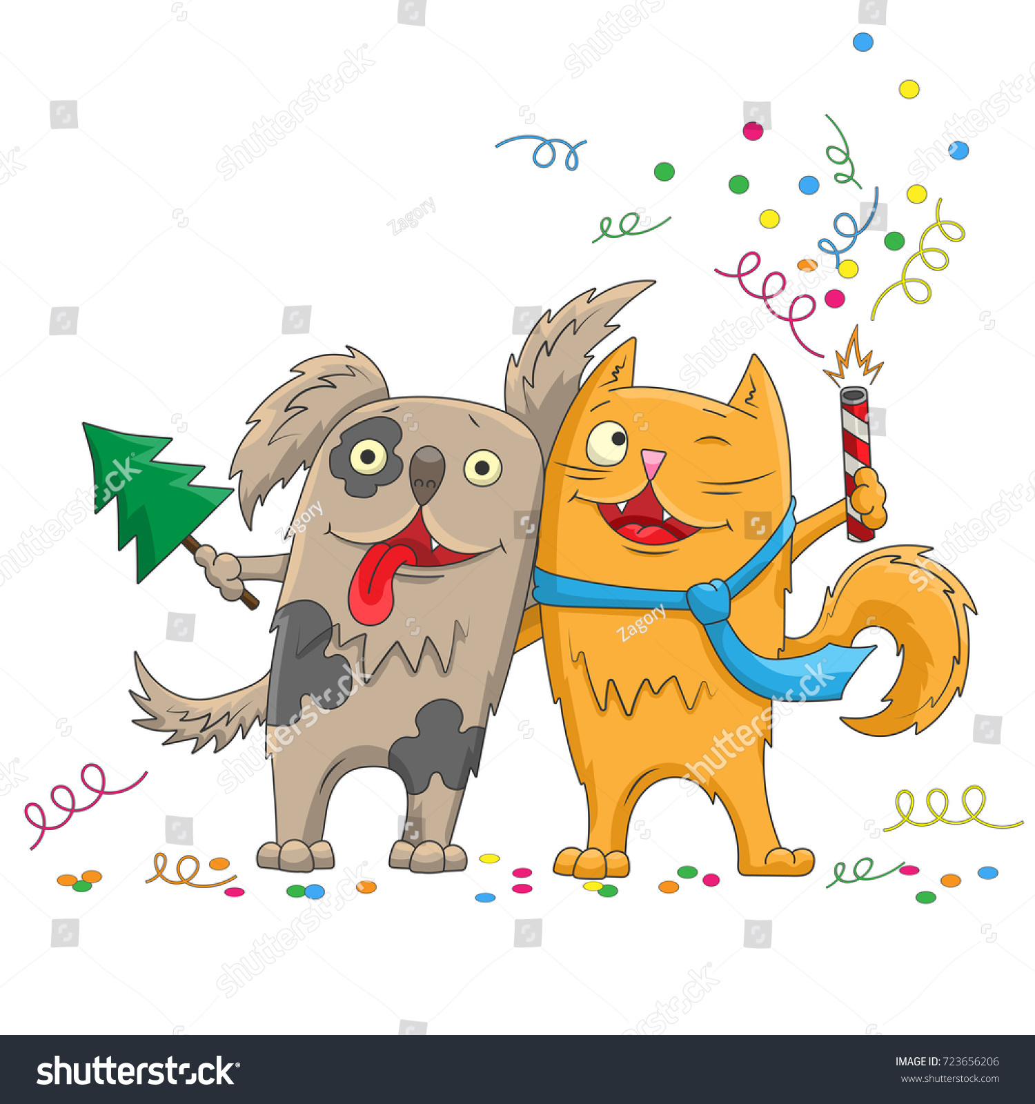illustration for new year and christmas cartoon funny cat and dog hugging isolated on white