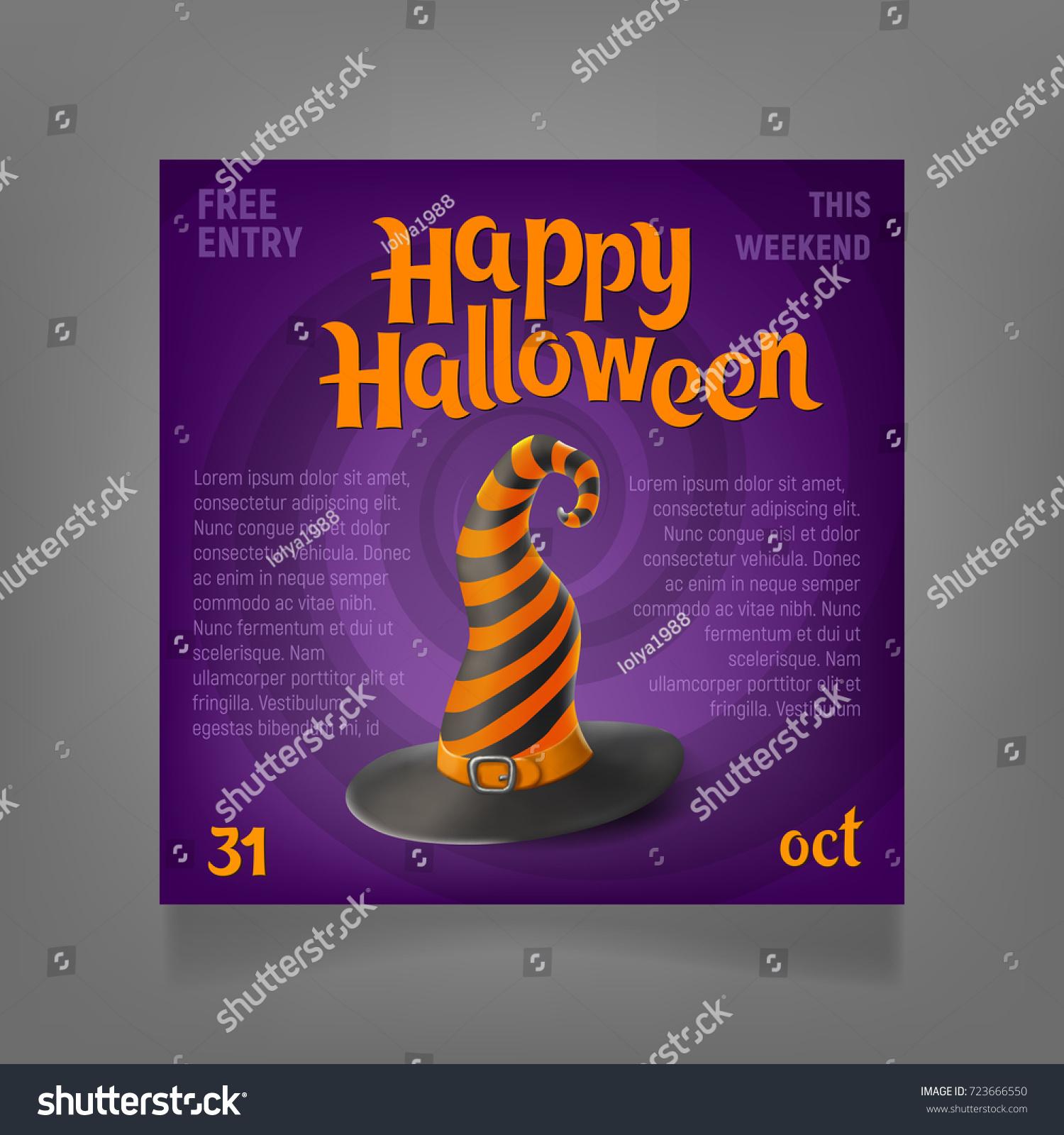 halloween party design template wizards hat stock vector royalty
