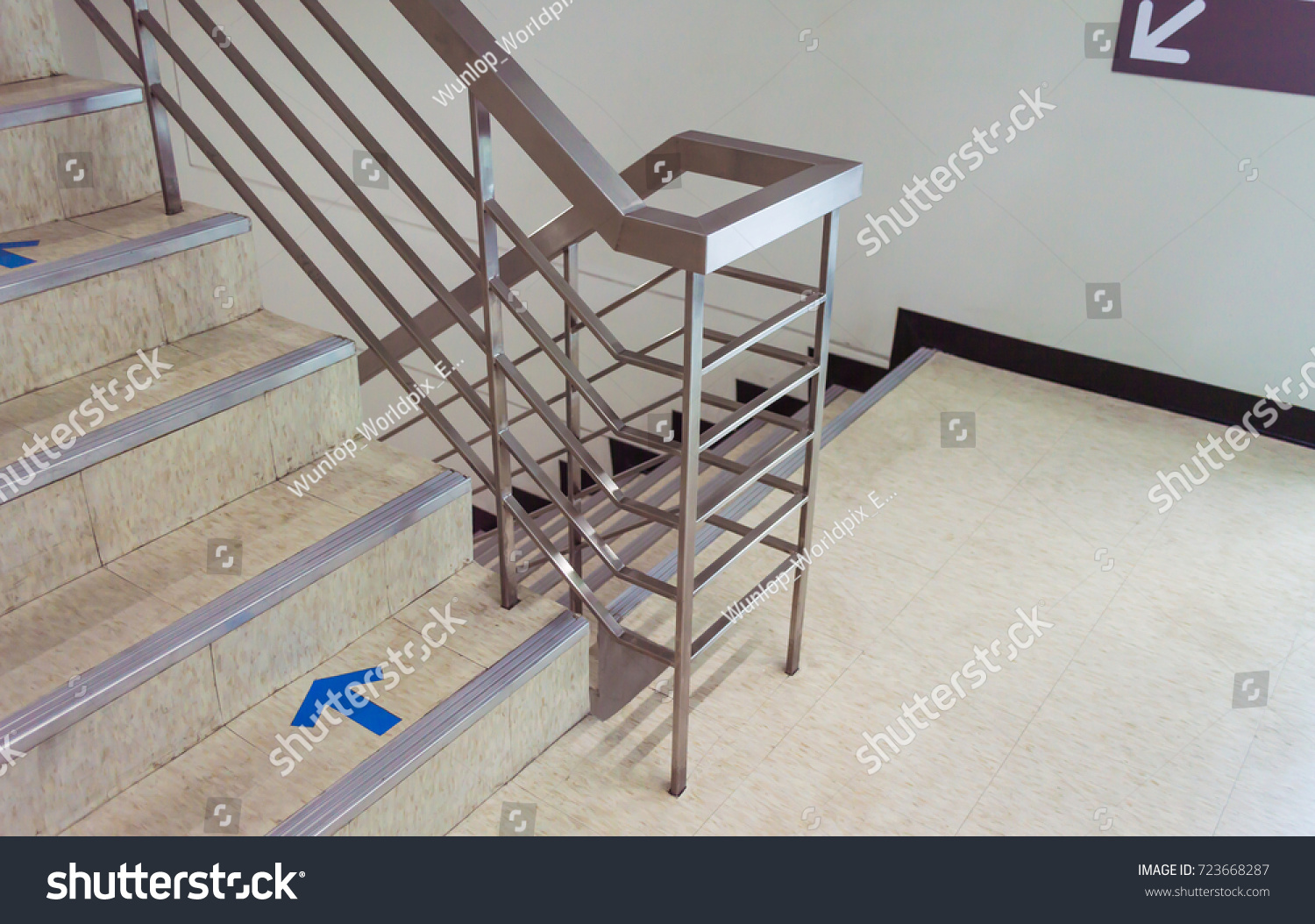 Building Stairs And Aluminium Handle.