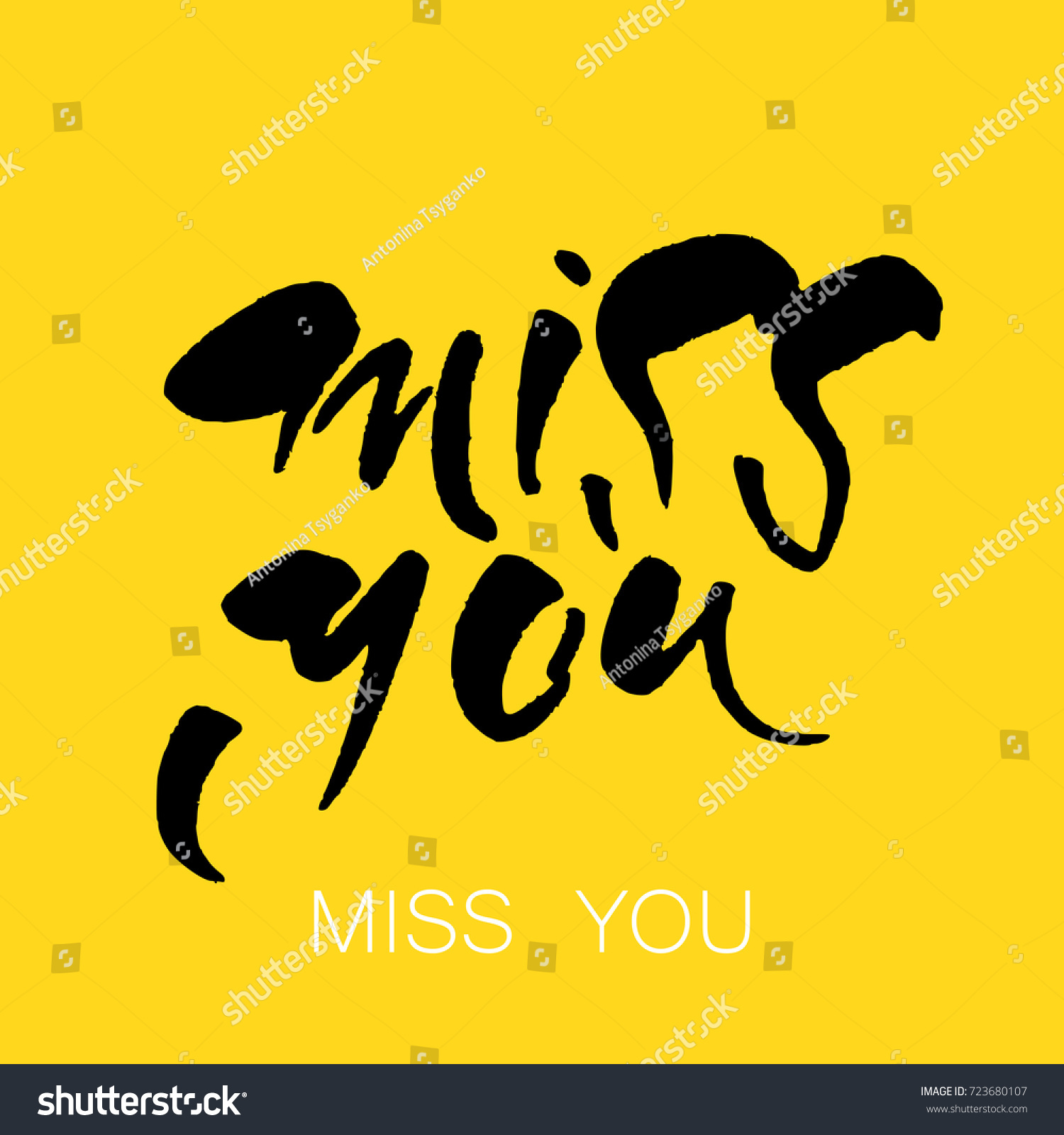 Miss You Greeting Card Hand Drawn Stock Vector 723680107 Shutterstock