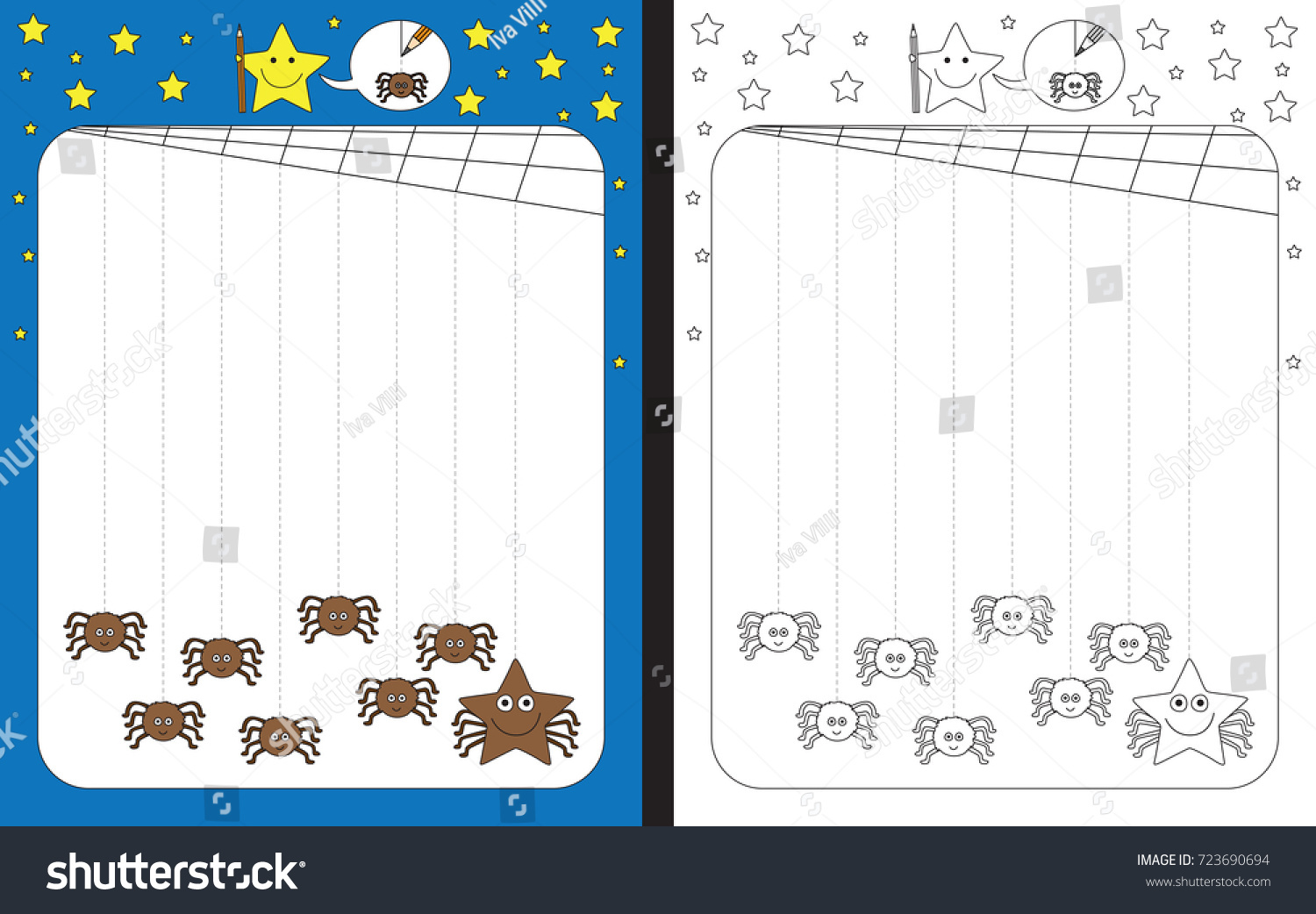 worksheet Fine Motor Skills Worksheets preschool worksheet practicing fine motor skills stock vector for tracing dashed lines from cobweb to spiders