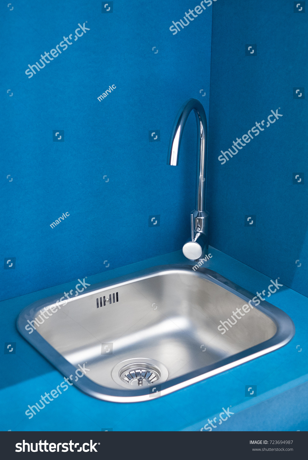 Tiny Kitchen Sink Tap European Low Stock Photo (Royalty Free ...