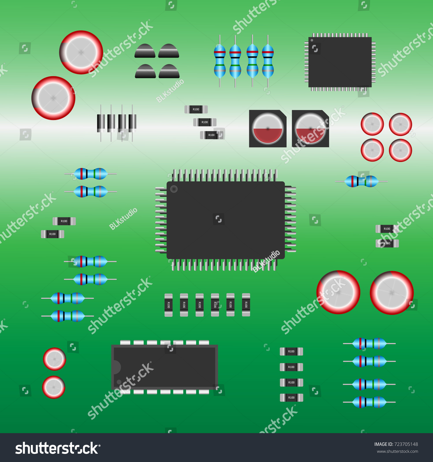 Group Electronic Parts Installed On Green Stock Vector Royalty Free Circuit Integrated Of A Board Illustration Design