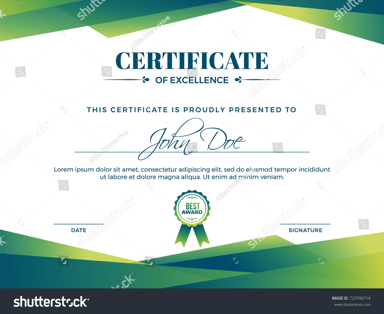 Certificate appreciation award template green shapes stock vector certificate of appreciation award template with green shapes and badge yelopaper Images