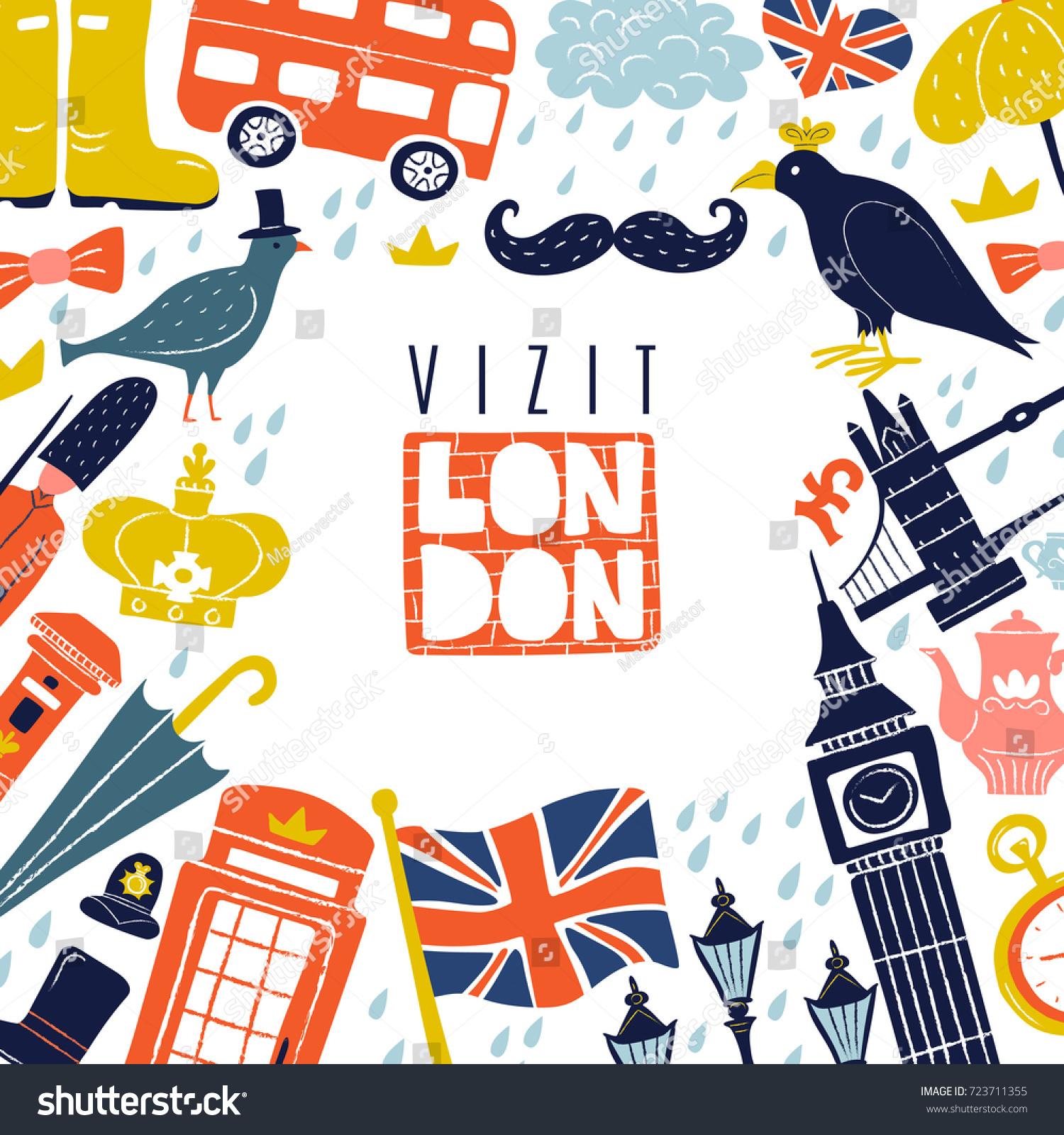 Decorative frame london landmarks symbols including stock vector decorative frame with london landmarks and symbols including flag bus umbrella pound on buycottarizona Images