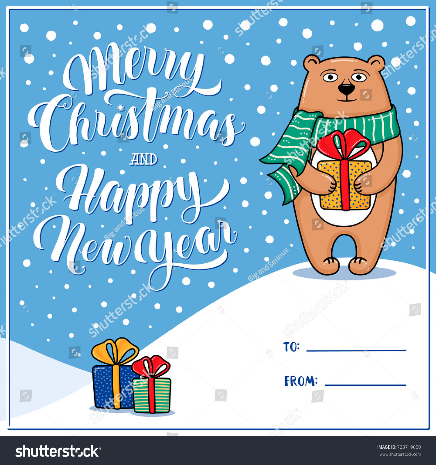 merry christmas and happy new year greeting card with raccoon gifts snow lettering place for signing to and from cartoon vector illustration