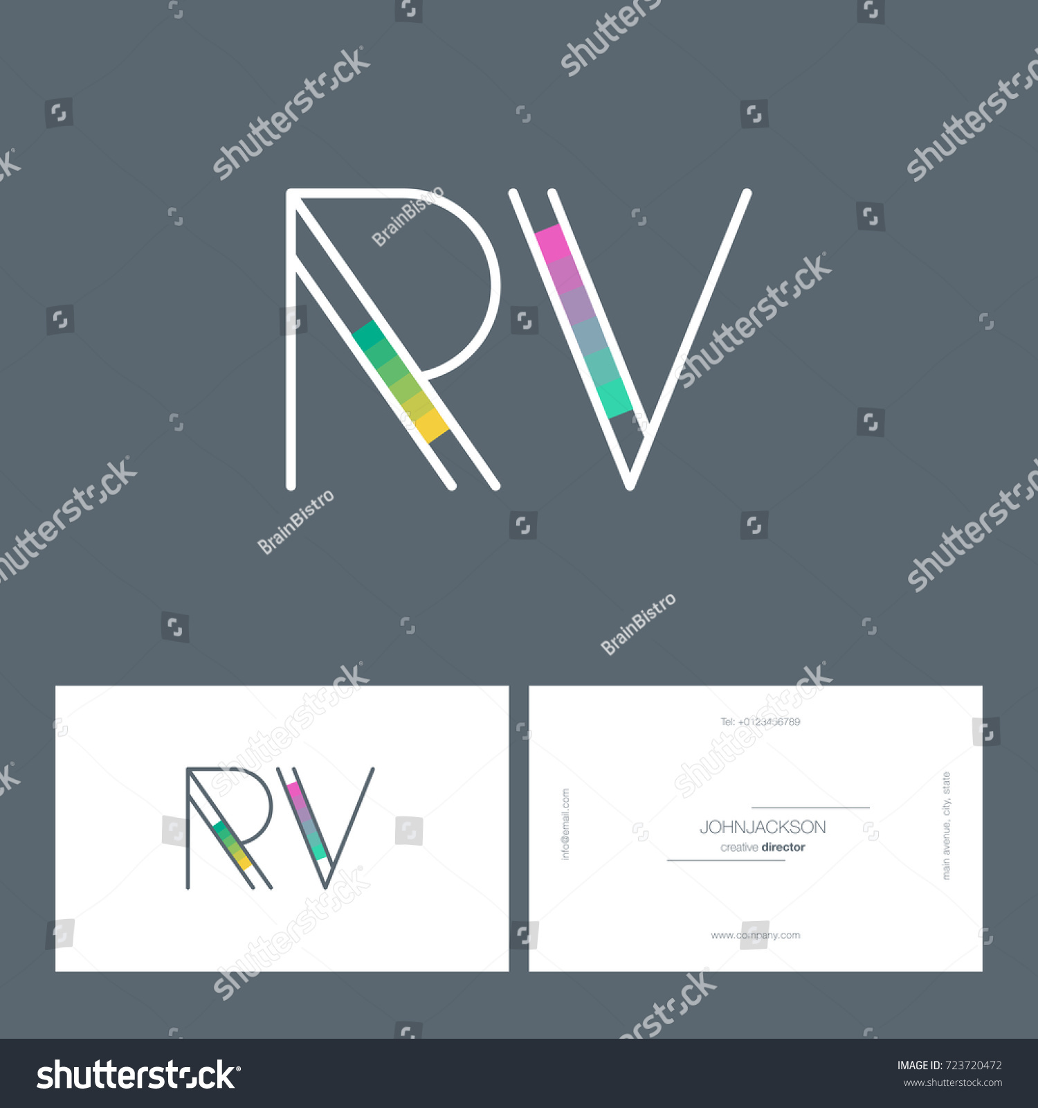 Letters r v logo business card stock vector 723720472 shutterstock letters r v logo with business card template vector colourmoves