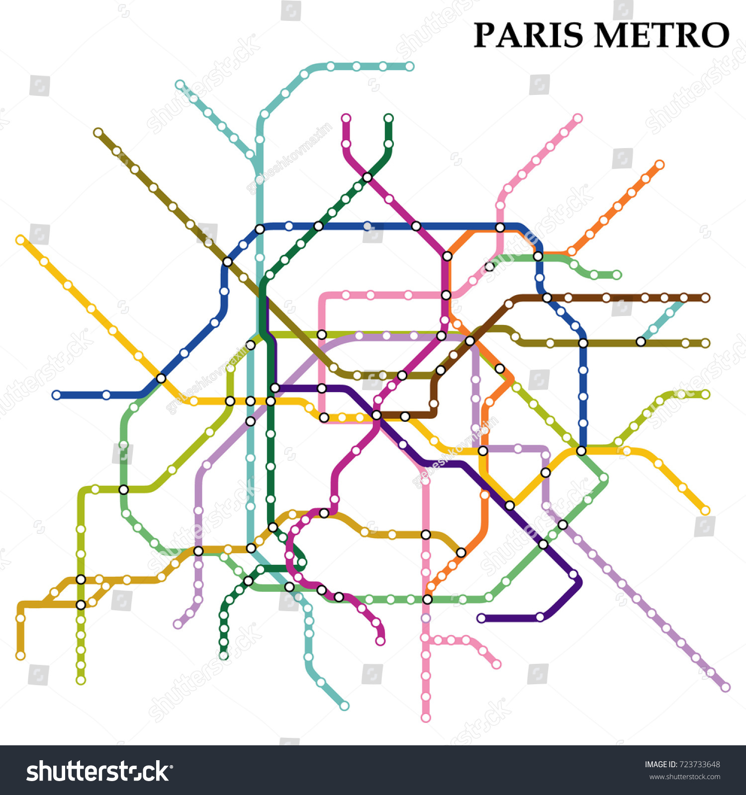 map paris metro subway template city stock vector 723733648 shutterstock