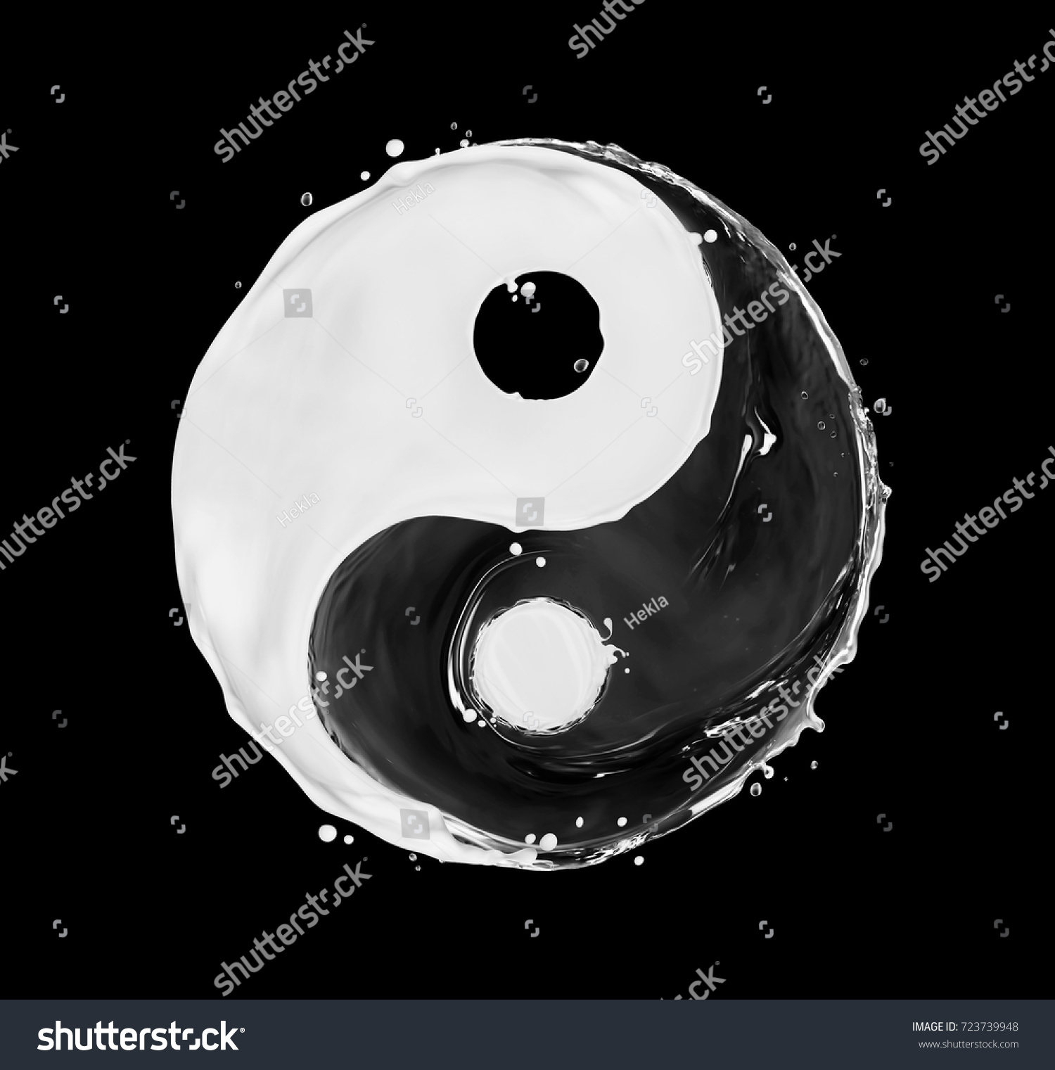 Symbol Yin Yang Made Water Splashes Stock Illustration 723739948