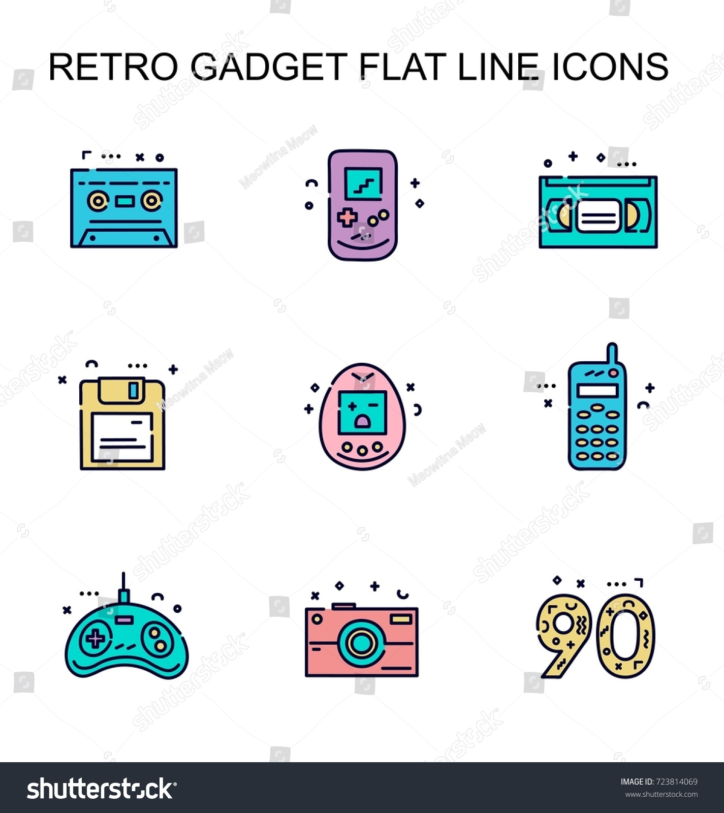 Colorful Flat Line Icons Gadgets 90 S Stock Vector Royalty Free