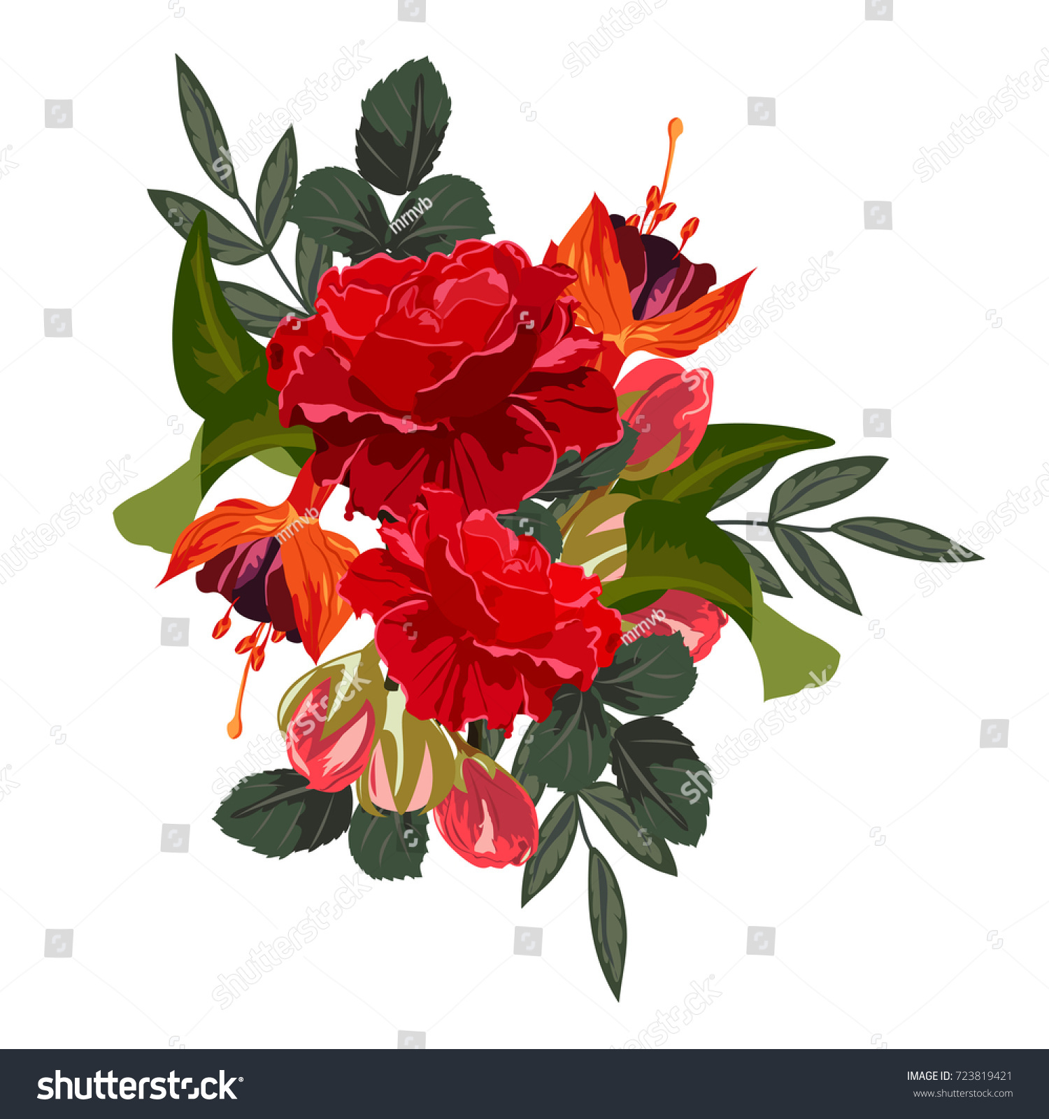 Bouquet Fuchsia Red Roses Decor Elements Stock Vector 723819421 ...