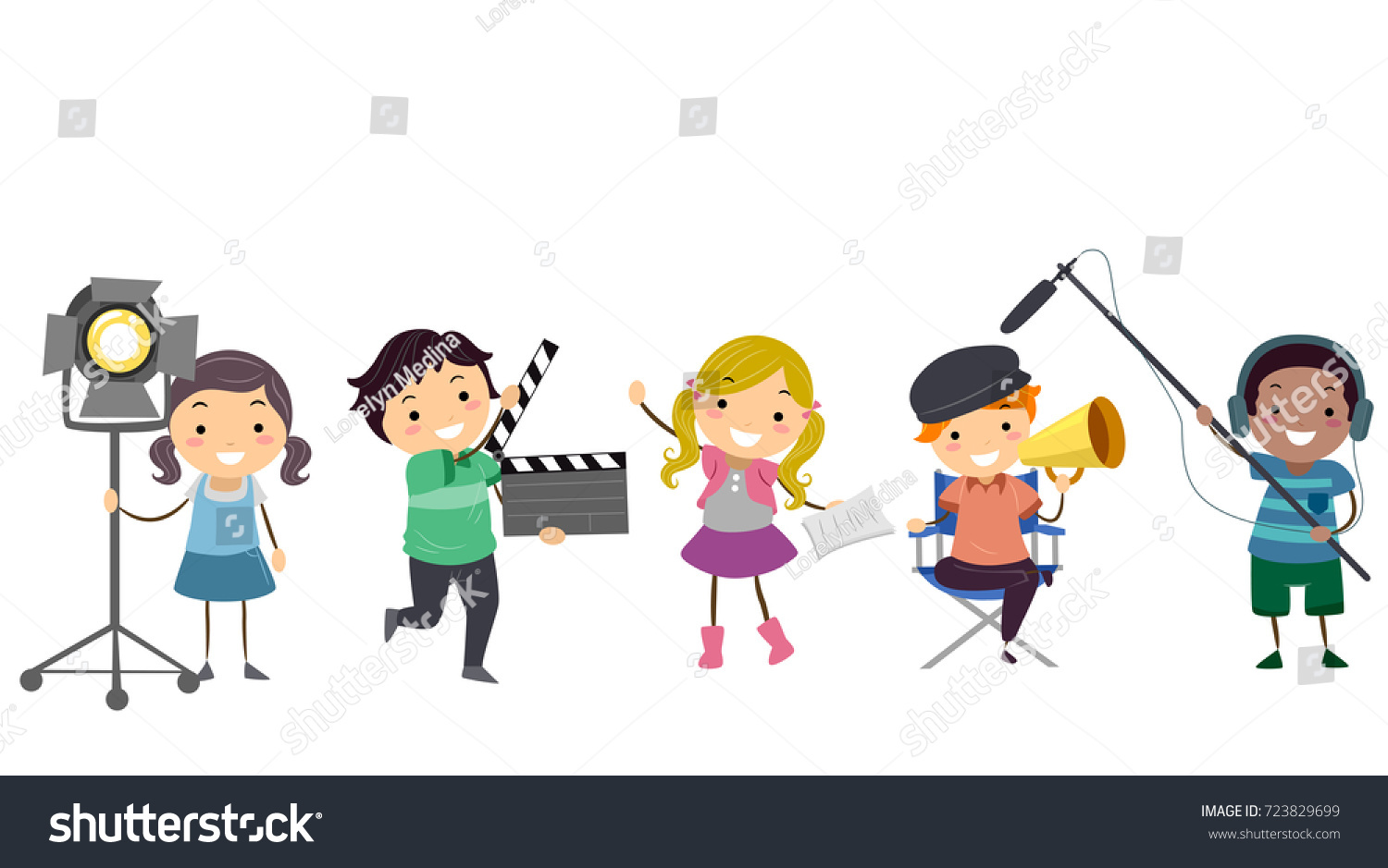 illustration stickman kids different theater roles stock vector rh shutterstock com action clip art images active clip art interactive