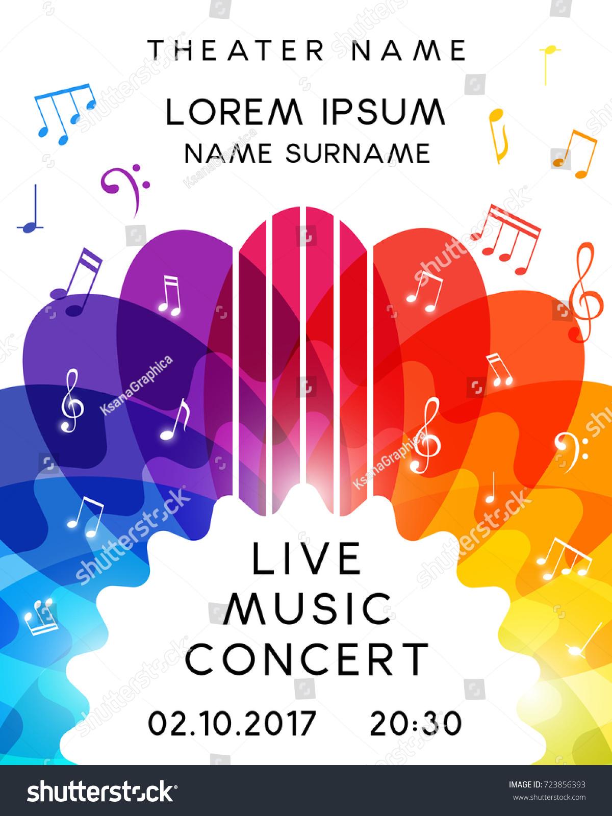 music concert poster design vector template stock vector