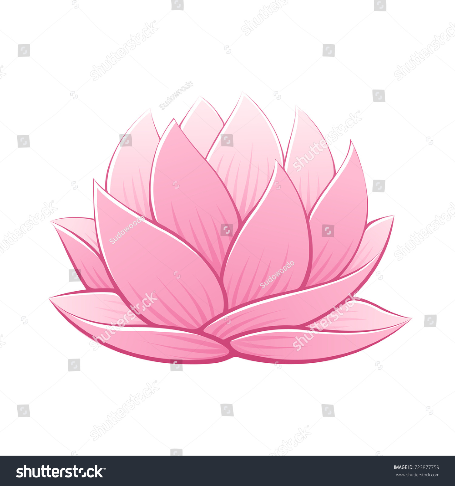 Pink Lotus Flower Vector Illustration Beautiful Stock Vector