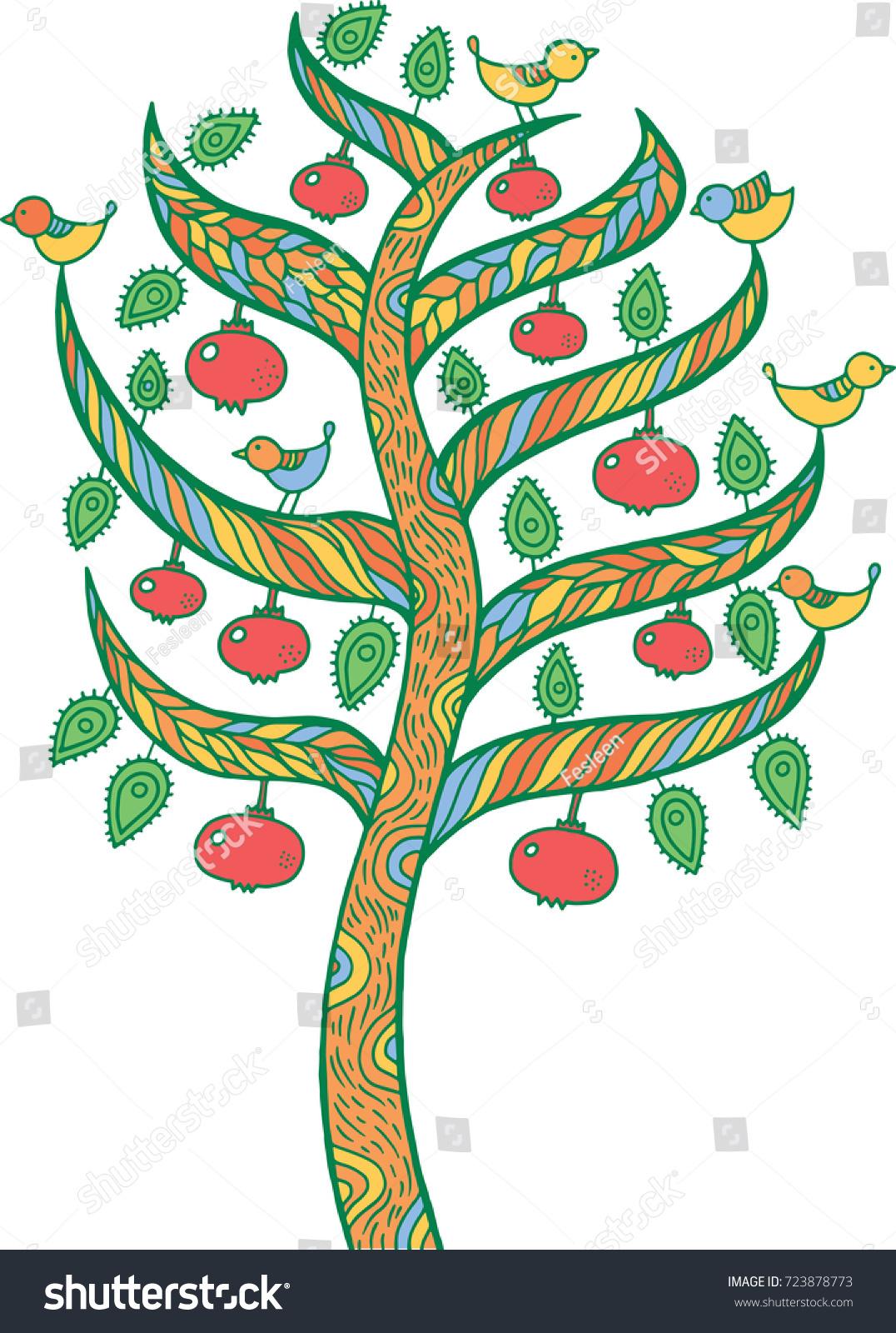 Pomegranate Tree Kids Illustration Colorful Doodle Stock ...