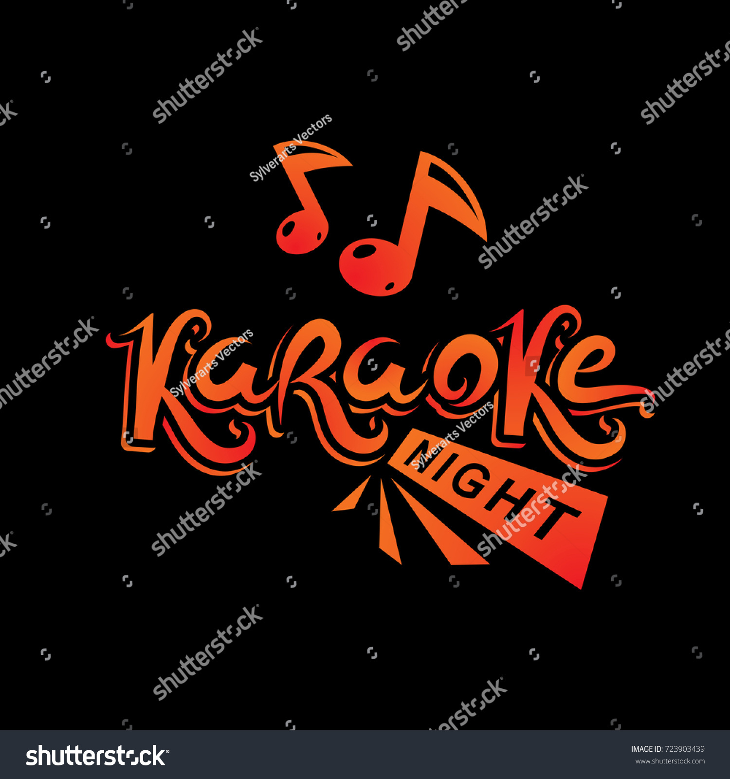 Karaoke party vector writing composed musical stock vector karaoke party vector writing composed with musical notes leisure and relaxation lifestyle emblem for nightclub monicamarmolfo Image collections