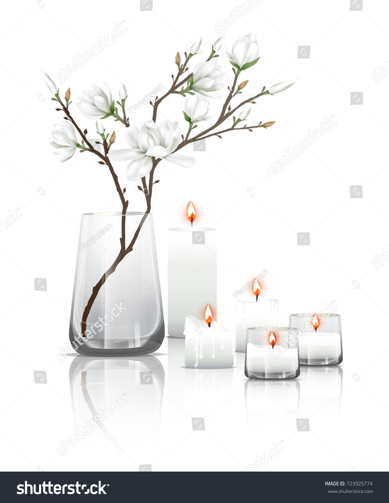 Branches white magnolia flowers clear glass stock vector 723925774 branches of white magnolia flowers in a clear glass and burning candles with reflection on the sciox Images