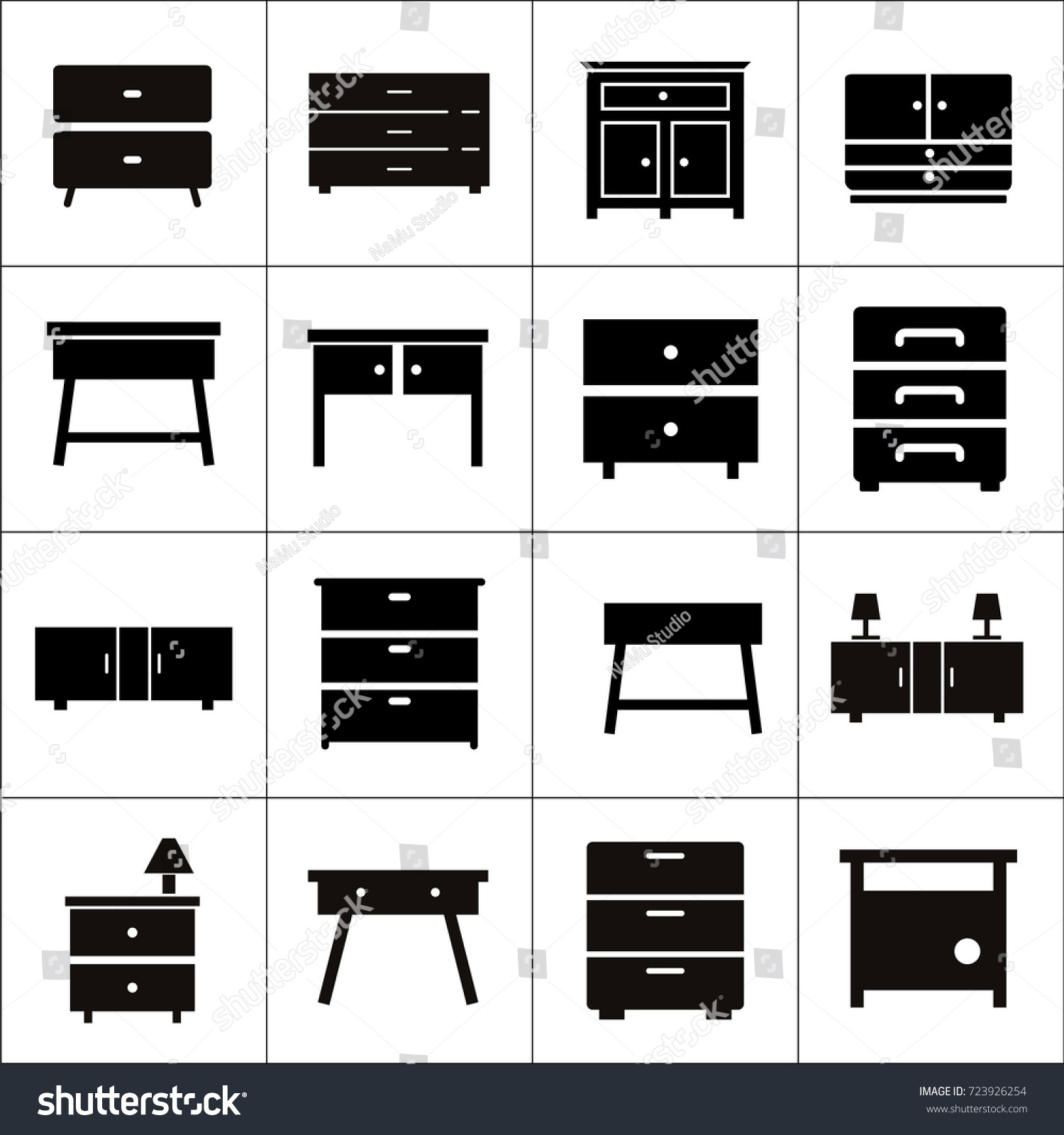 Chest Drawers Vector Icon Furniture Types Stock Vector Royalty Free