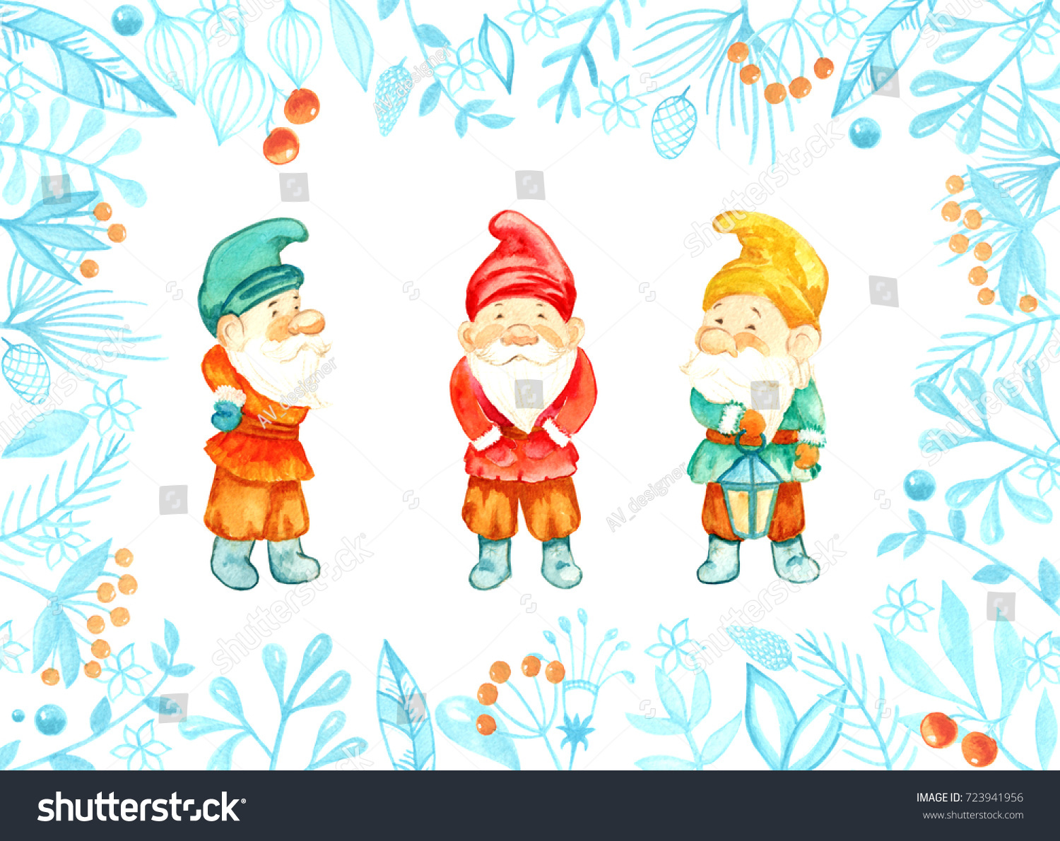 Watercolor Christmas Gnomes Cute Children Illustration Stock ...