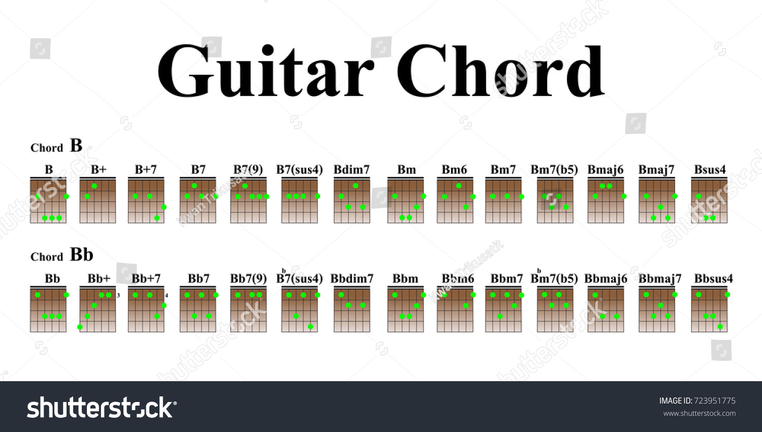 Guitar chords beginners stock vector 723951775 shutterstock guitar chords for beginners hexwebz Image collections