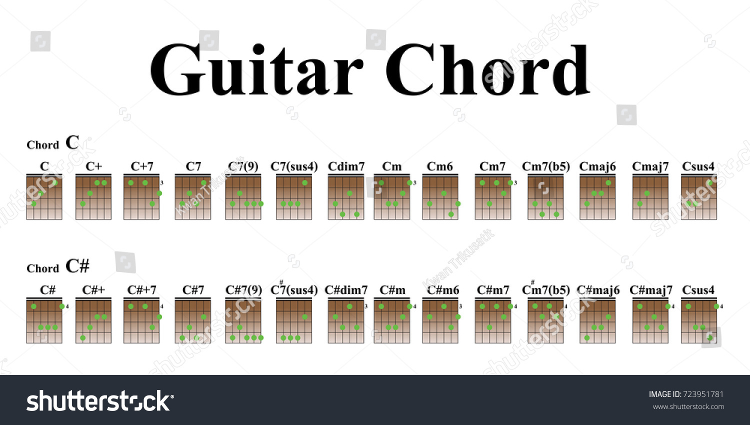 Guitar Chords Beginners Stock Vector Royalty Free 723951781
