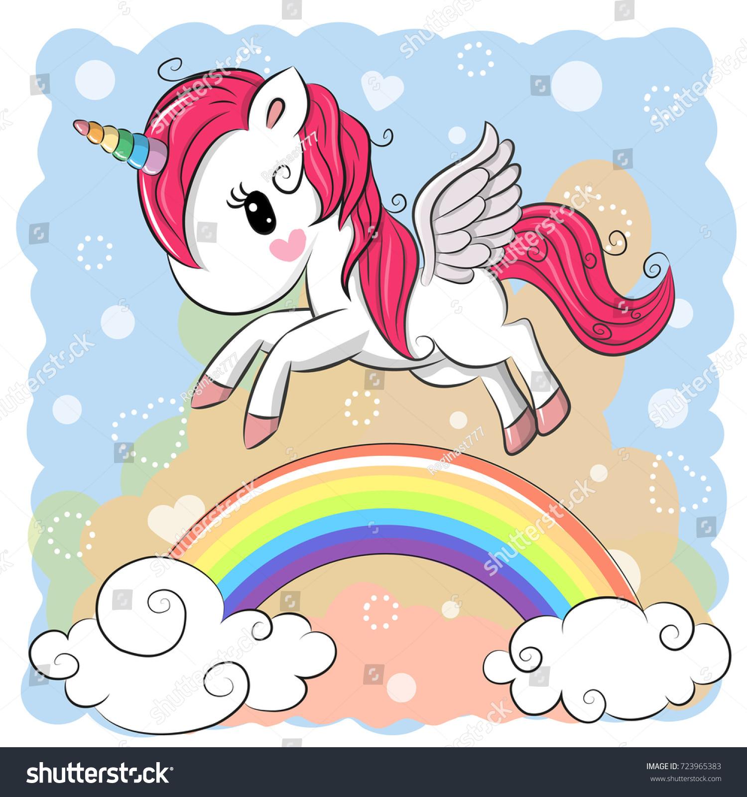 cute cartoon unicorn flying over rainbow stock vector 723965383