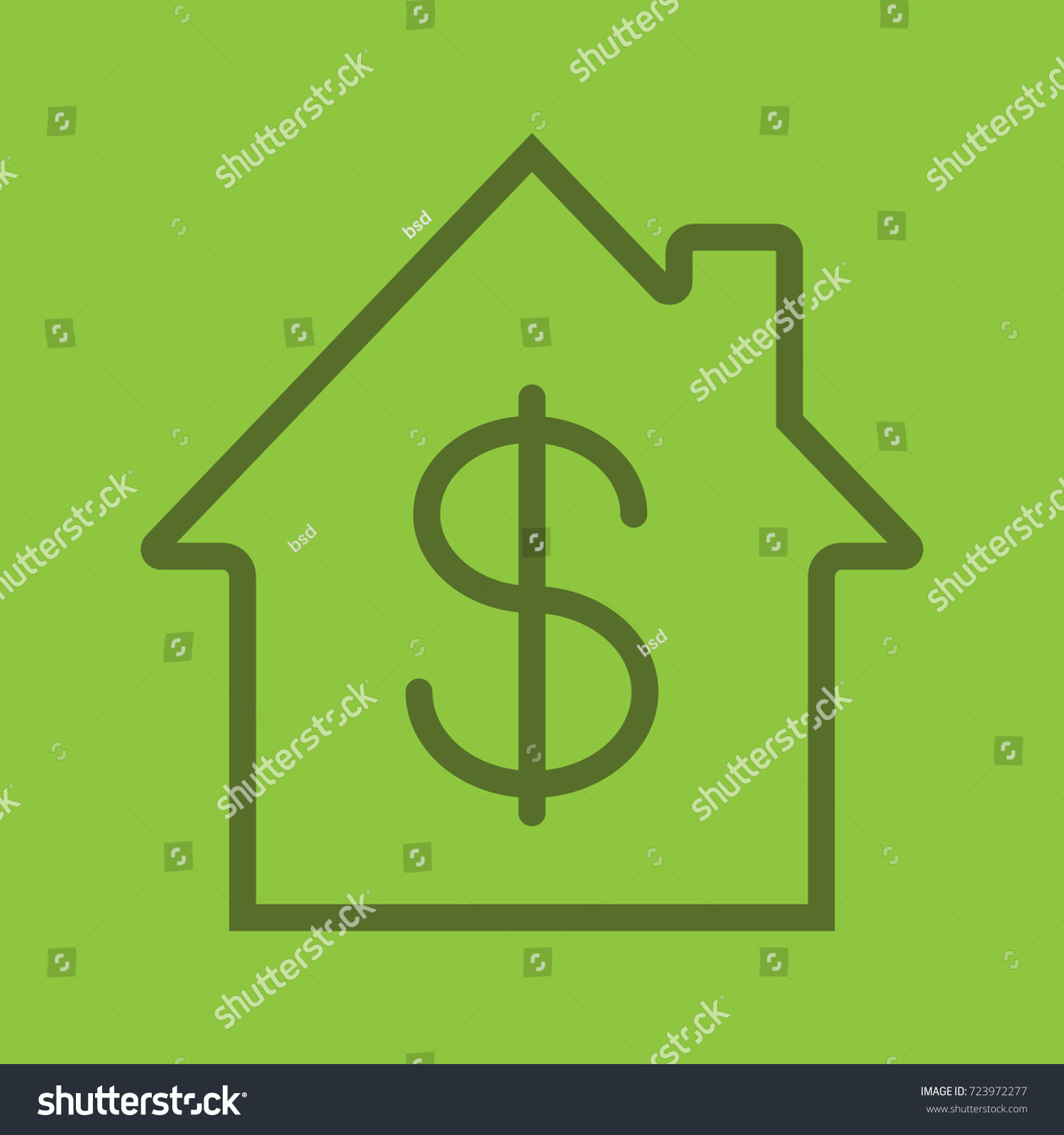 Property purchase linear icon real estate stock illustration property purchase linear icon real estate market home with dollar sign inside thin biocorpaavc Image collections