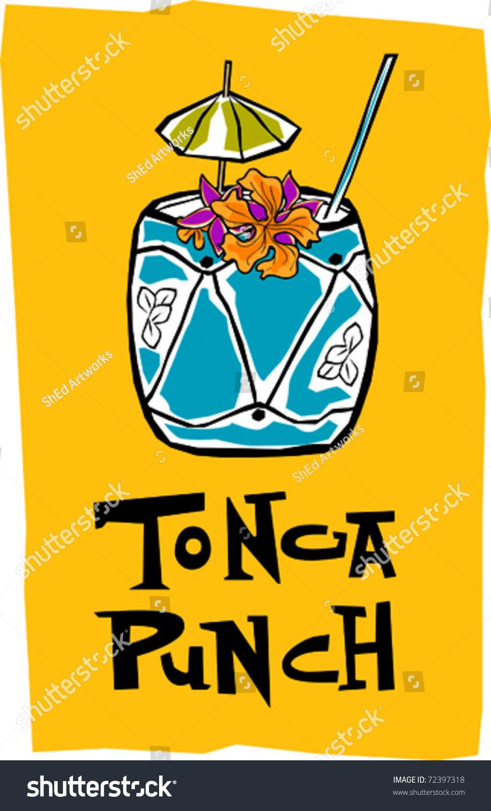 Retro Polynesian Tropical Tonga Punch Tiki Stock Photo (Photo ...
