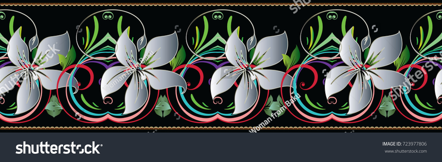 3d Flowers Seamless Border Floral Vintage Stock Vector Royalty