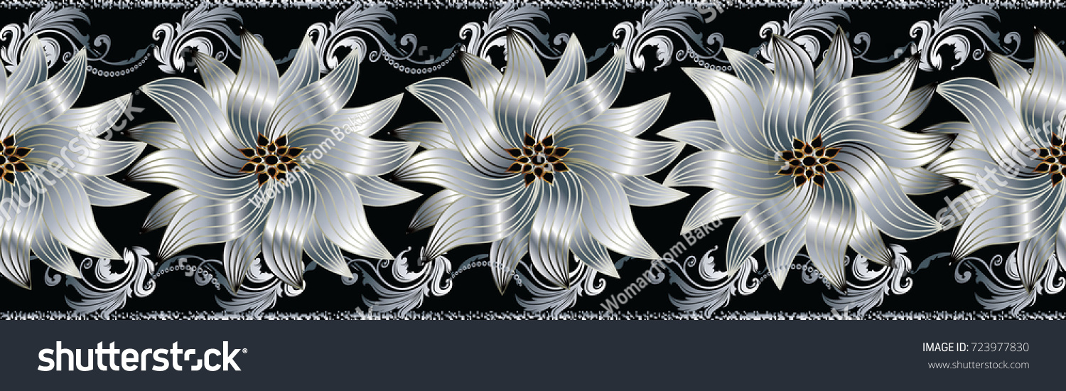 3d flowers seamless border floral repeat stok vektr 723977830 3d flowers seamless border floral repeat pattern vector flourish black background with silver white mightylinksfo