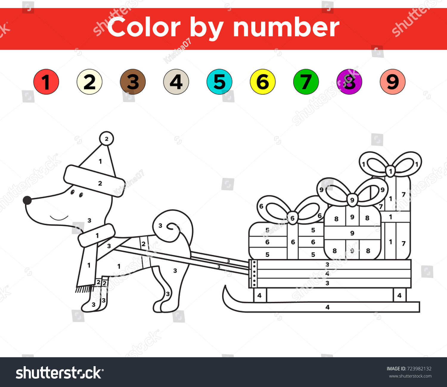 Color By Number For Preschool And School Kids Christmas Coloring Page With Funny Cartoon Dog