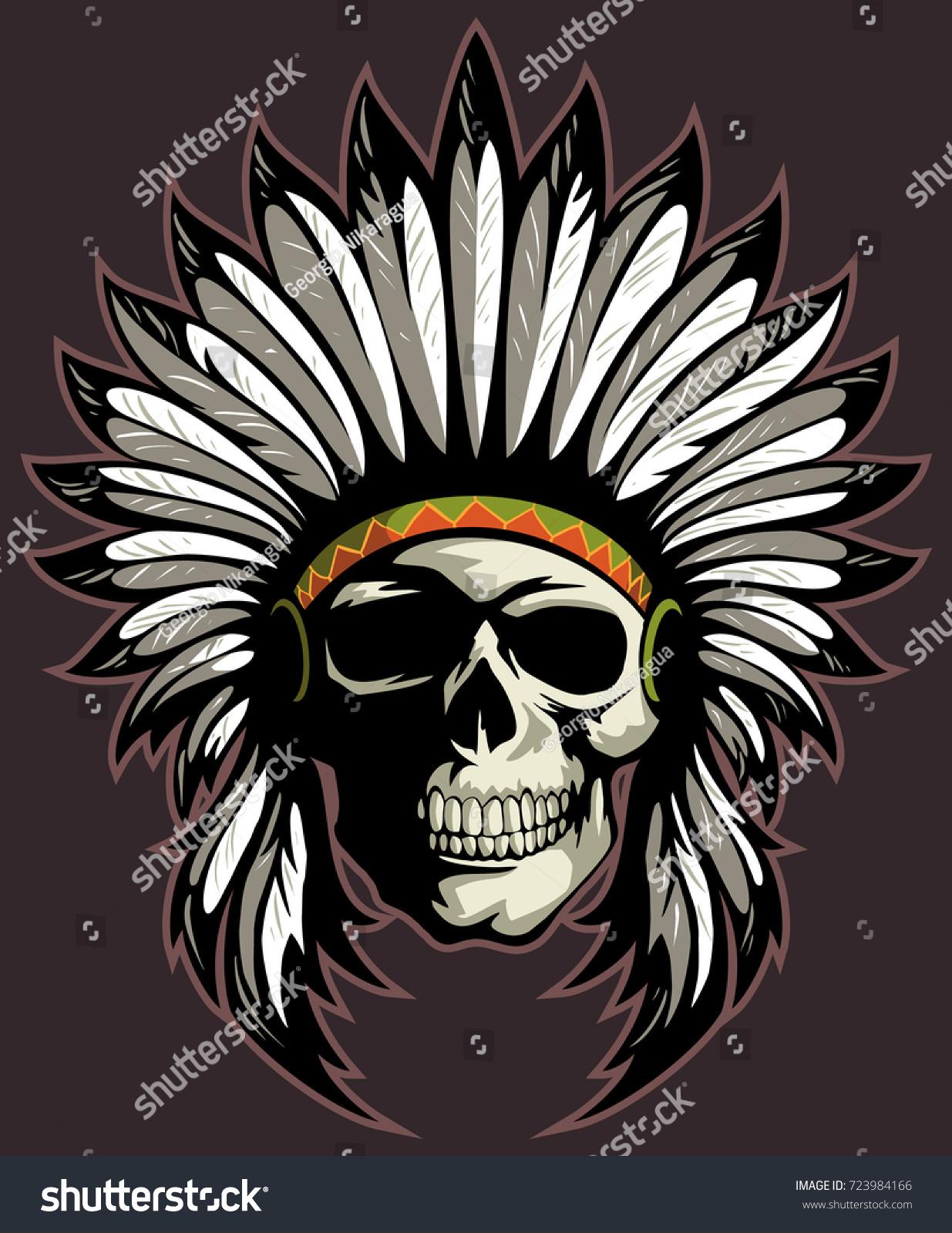 native american skull indian chief headdress stock vector