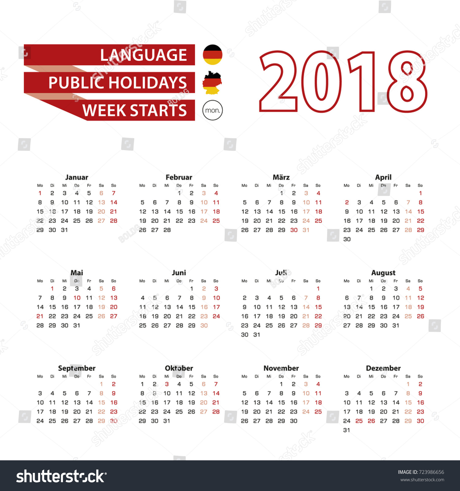 Calendar 2018 Germany Language Public Holidays Stock Vektorgrafik