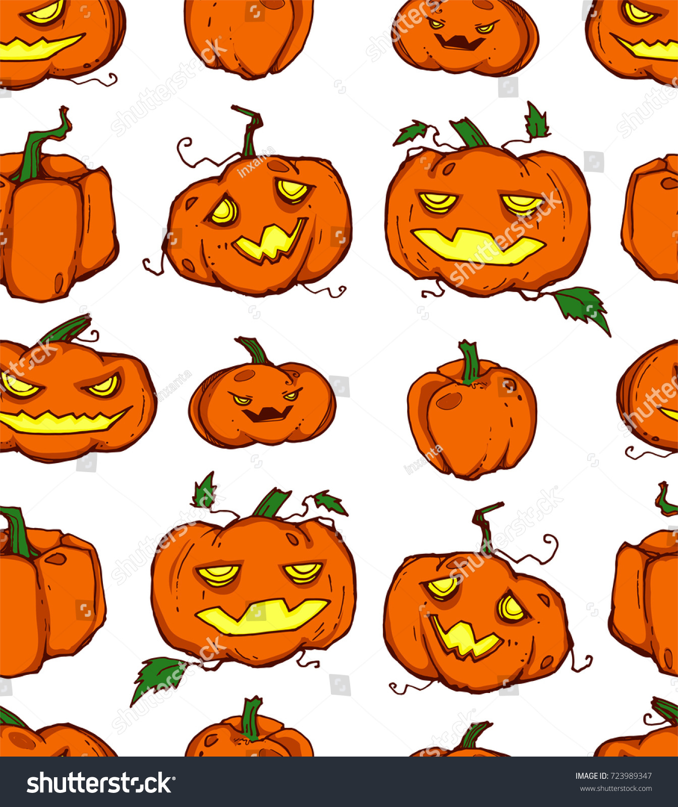 stock vector seamless background with spooky halloween pumpkin it can be used as wallpaper desktop printing 723989347