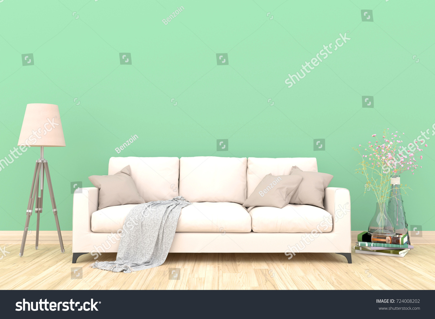 Minimal Green Living Room Interior With White Fabric Sofa, Lamp, Cabinet  And Plants On Part 77
