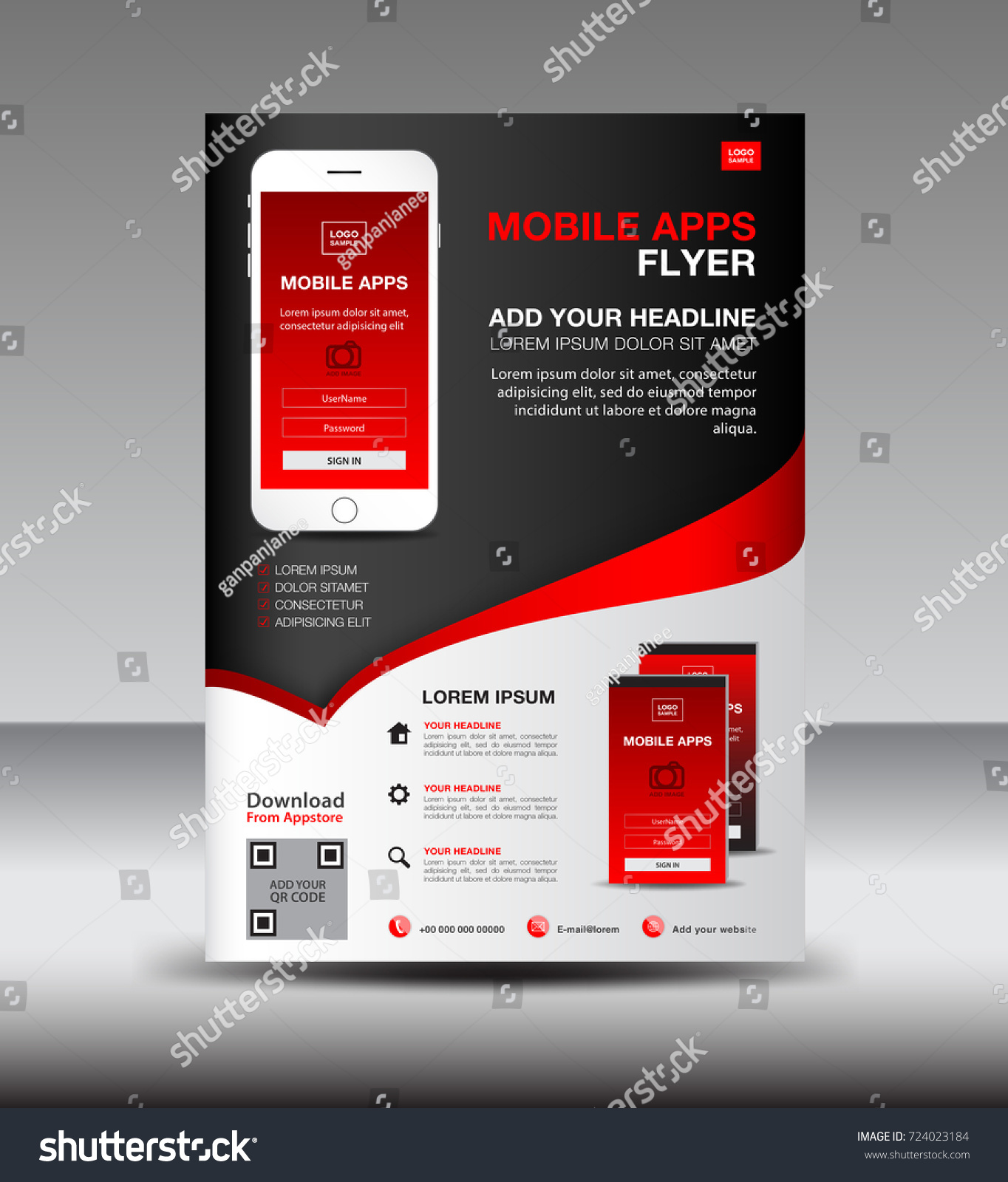Mobile Apps Flyer Template Business Brochure Stock Vector 724023184 ...