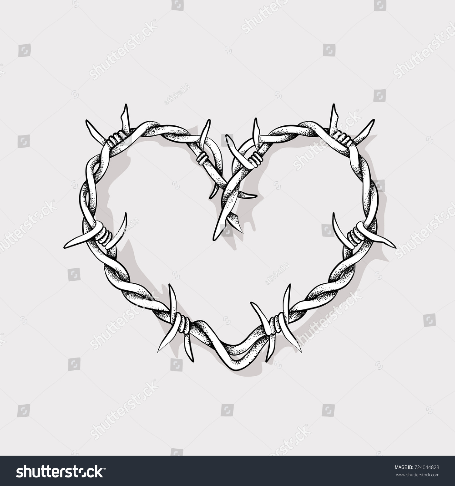 Heart Shape Barbed Wire Stock Vector HD (Royalty Free) 724044823 ...