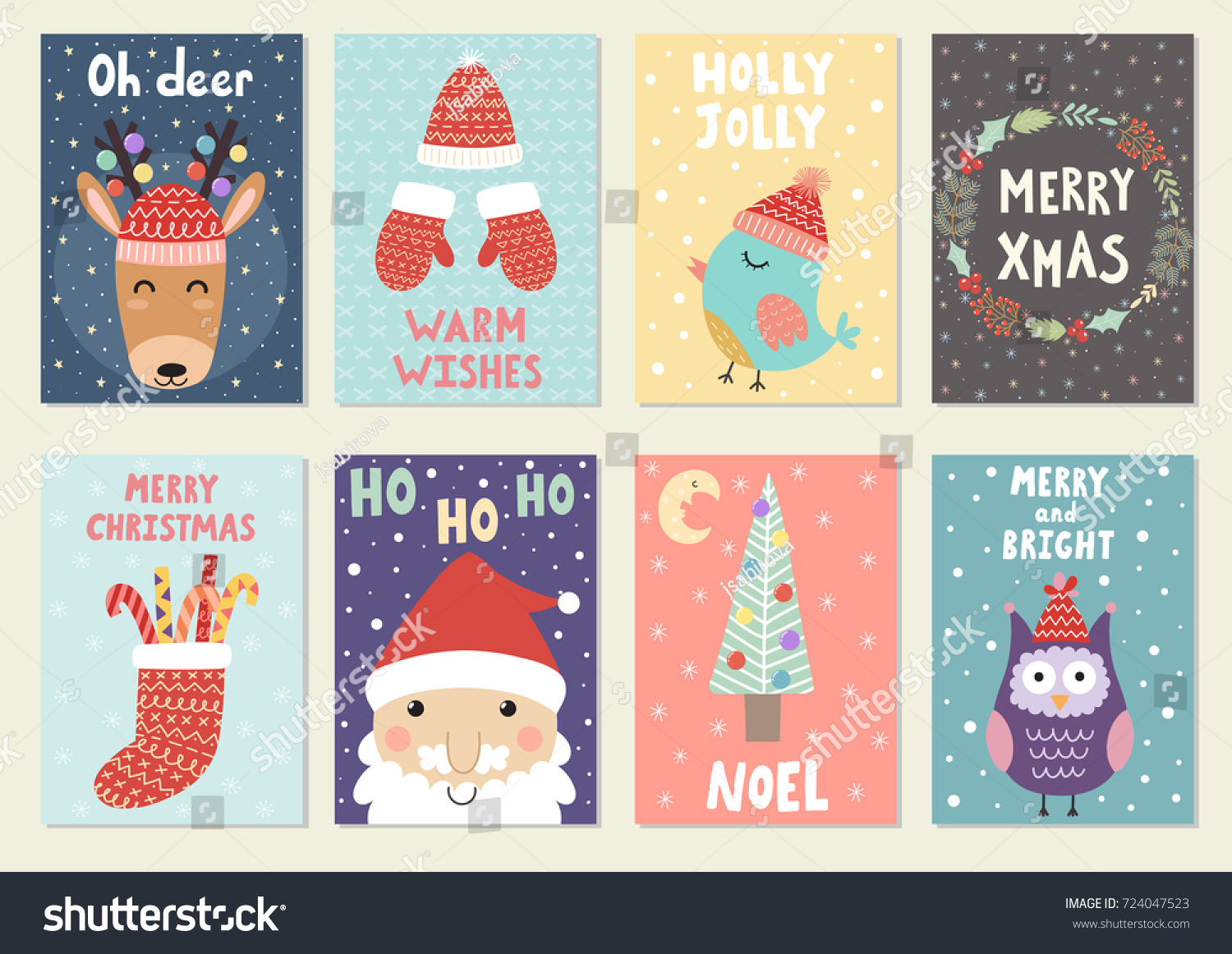 Set Cute Christmas Greeting Cards Postcards Stock Vector Royalty