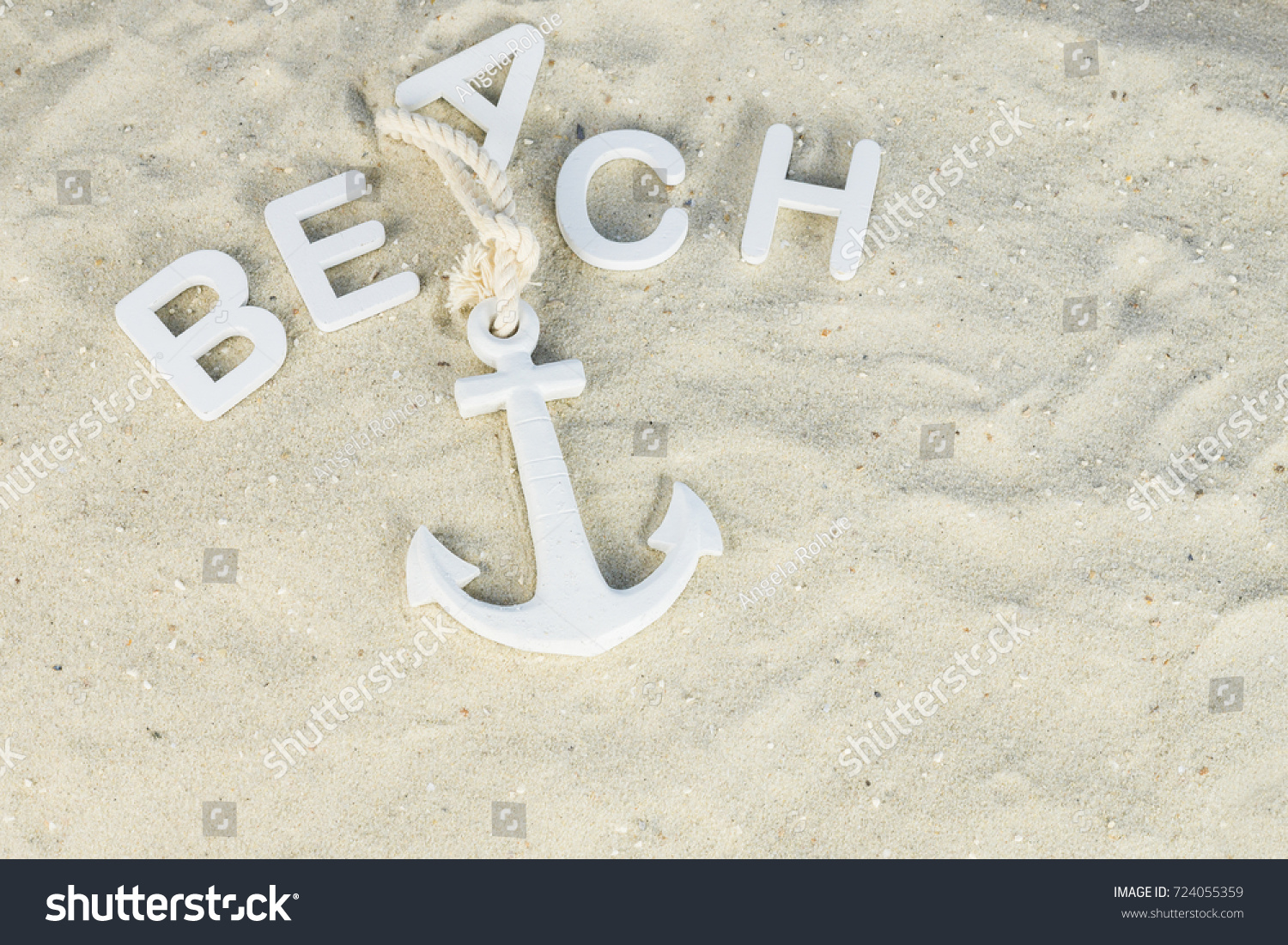 White Anchor Sand Above Word Beach Stock Photo Edit Now 724055359