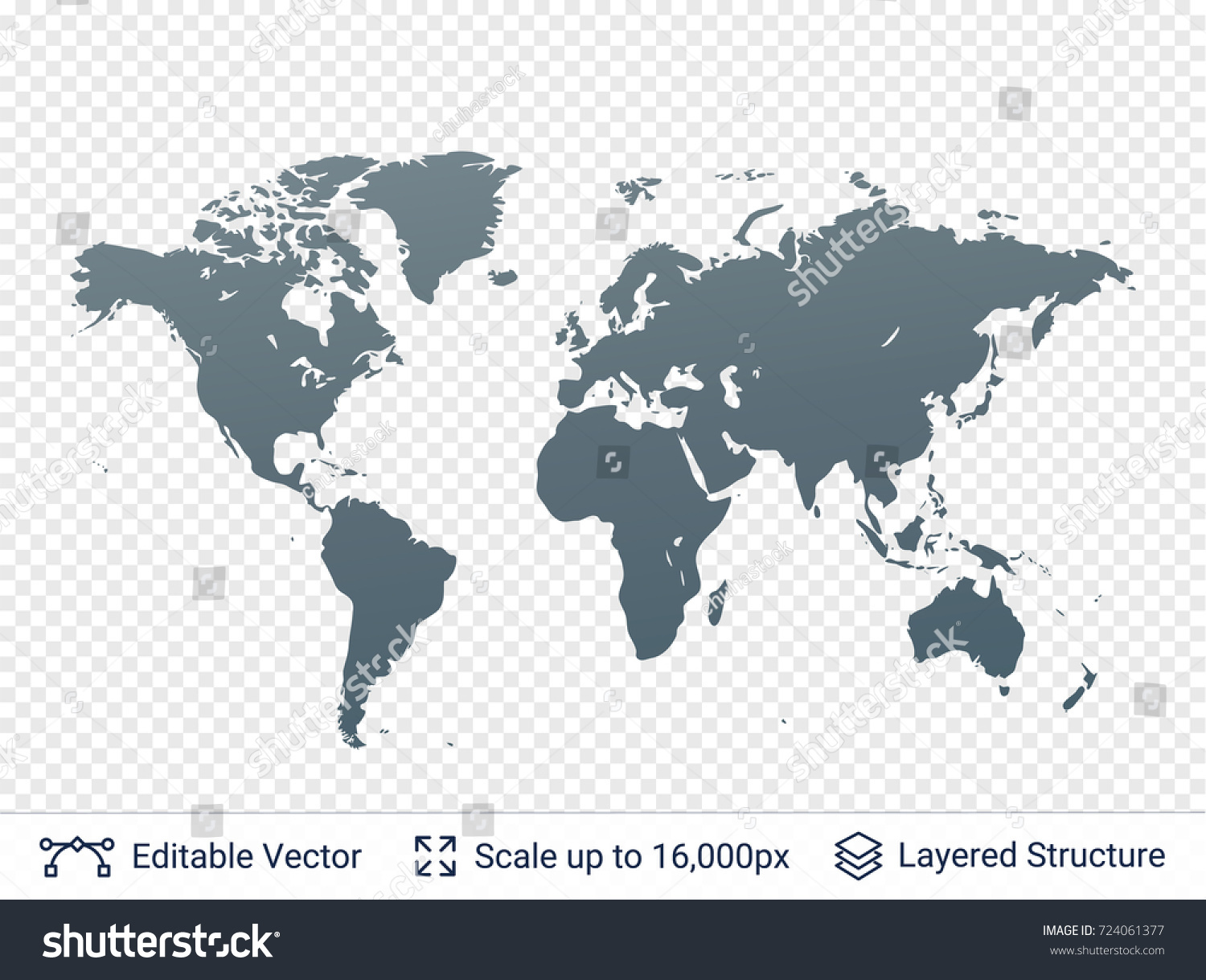 World map silhouettes continental shapes gray stock vector 724061377 world map silhouettes continental shapes in gray color vector template easy to edit gumiabroncs Images