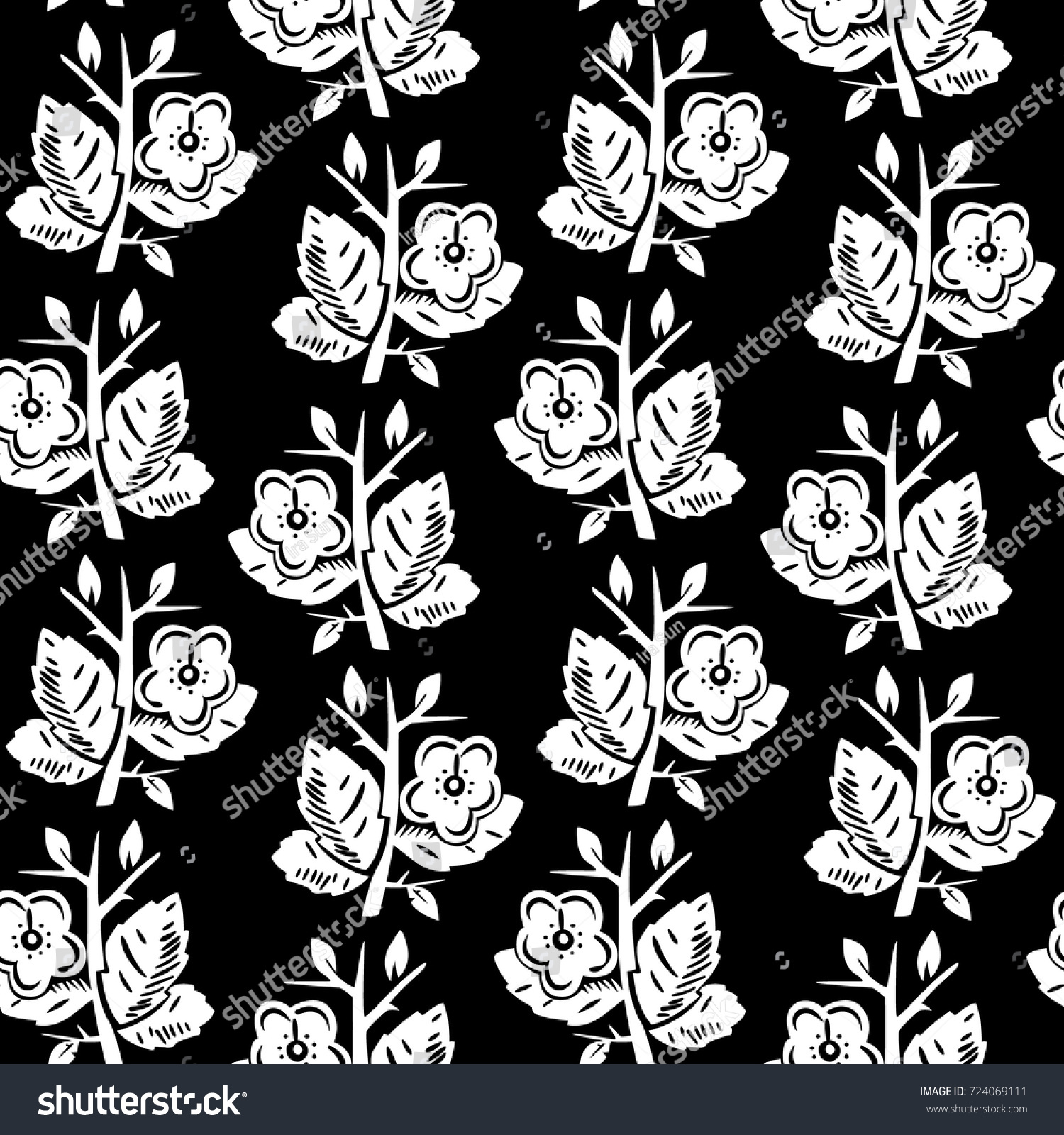 Vector Illustration Of Abstract Flat Flowers Pattern White Flowers