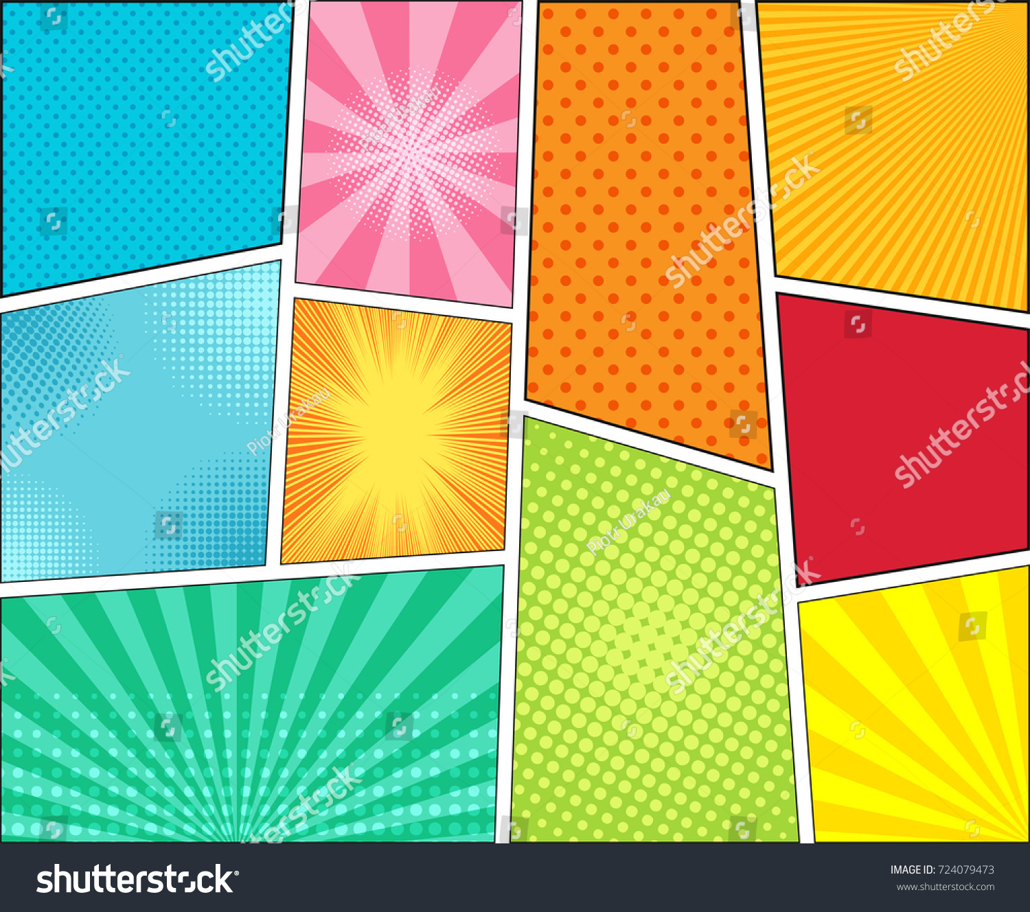 ic Book Colorful Background Halftone Rays Stock Vector