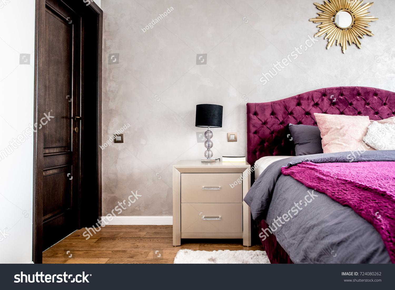 Master Bedroom Details Hardwood Floors Cozy Stock Photo Edit Now 724080262